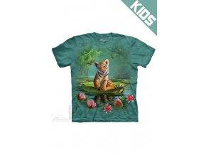 Tričko s potiskem tygřík na lotosu - Dětské