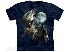 Tričko s potiskem 3 vlci měsíc v modrém - Dětské