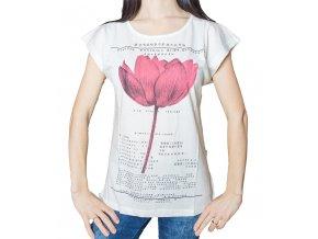 Dámské tričko s potiskem - Lotosový květ - béžové