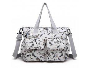 Taška na kočárek - bílá s ptáčky