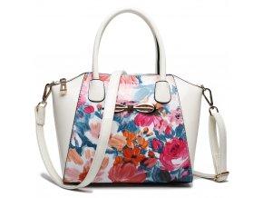 Květinová crossbody elegantní kabelka - modro růžové květy