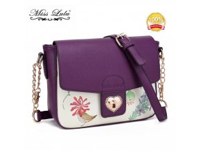 Malá crossbody elegantní kabelka s květinovým vzorem - fialová