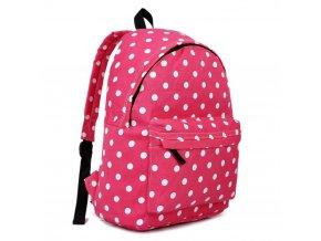 Stylový Školní Batoh - růžový s puntíky