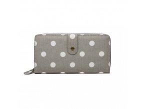 Praktická peněženka - šedá s puntíky