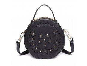 Kulatá kabelka crossbody - černá s kytičkami