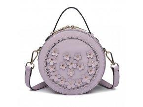 Kulatá kabelka crossbody - fialová s kytičkami
