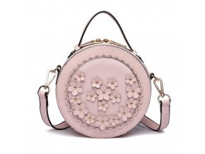 Kulatá kabelka crossbody - růžová s kytičkami