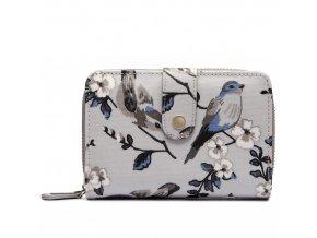Dámská peněženka - šedá s ptáčky - malá