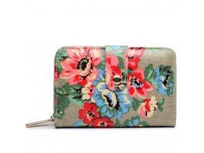 Dámská peněženka - šedá puntík a růže - malá