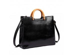 Stylová elegantní kabelka s dřevěnou rukovětí - černá