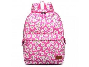 Nepromokavý batoh na záda - růžový kytičkový