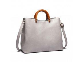 Stylová elegantní kabelka s dřevěnou rukovětí - šedá