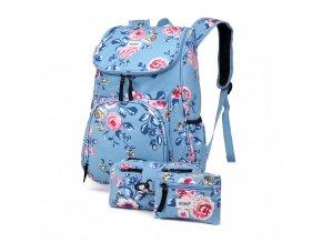 Školní batoh - Rose - s peněženkou a penálem - světle modrý