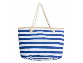 Letní plážová taška - Modro Bílé Pruhy Hnědý Lem