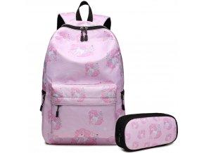 Školní batoh - Unicorn - Jednorožec + Penál - Růžový
