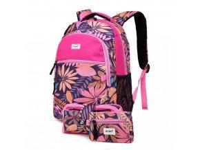 Školní batoh - Paradise - růžový - s penálem a peněženkou
