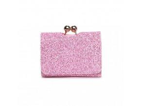 Roztomilá třpytivá peněženka - růžová