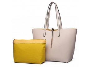 Oboustranná kabelka na rameno s kosmetickou taštičkou - béžovo-žlutá