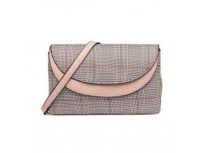 Elegantní crossbody kabelka - růžová kostkovaná