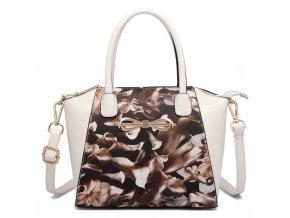 Květinová crossbody elegantní kabelka - hnědé kaly