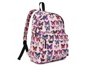 Batoh na záda s potiskem - ružový s motýlky