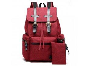Unisexový červený kanvas batoh Kono s peněženkou