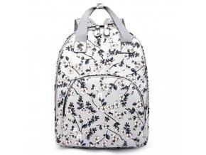 Designový batoh na záda s potiskem - šedý - květinky