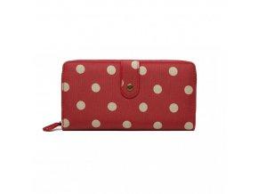 Praktická peněženka - červená s puntíky