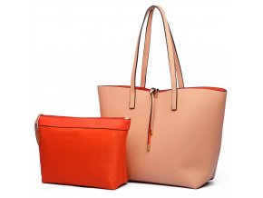 Oboustranná kabelka na rameno s kosmetickou taštičkou - broskvově-oranžová