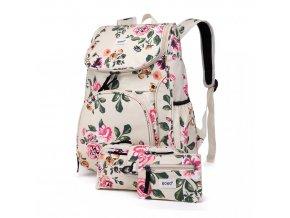 Školní batoh - Rose - s peněženkou a penálem - béžový