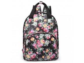 Designový batoh na záda s potiskem - černý - květiny