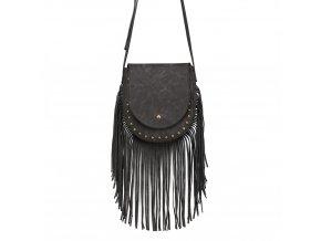 Crossbody kabelka s třásněmi - černá
