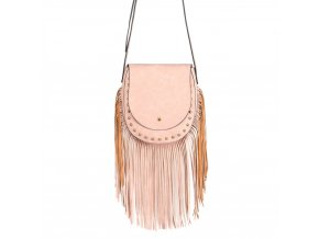 Crossbody kabelka s třásněmi - ružová