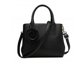 Elegantní kabelka s přívěskem Rose - černá