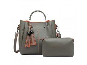 Luxusní designová kabelka s třásněmi - zelená s oranžovým