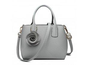Elegantní kabelka s přívěskem Rose - šedá