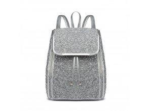 Elegantní dámský batoh třpytivý - Stříbrný