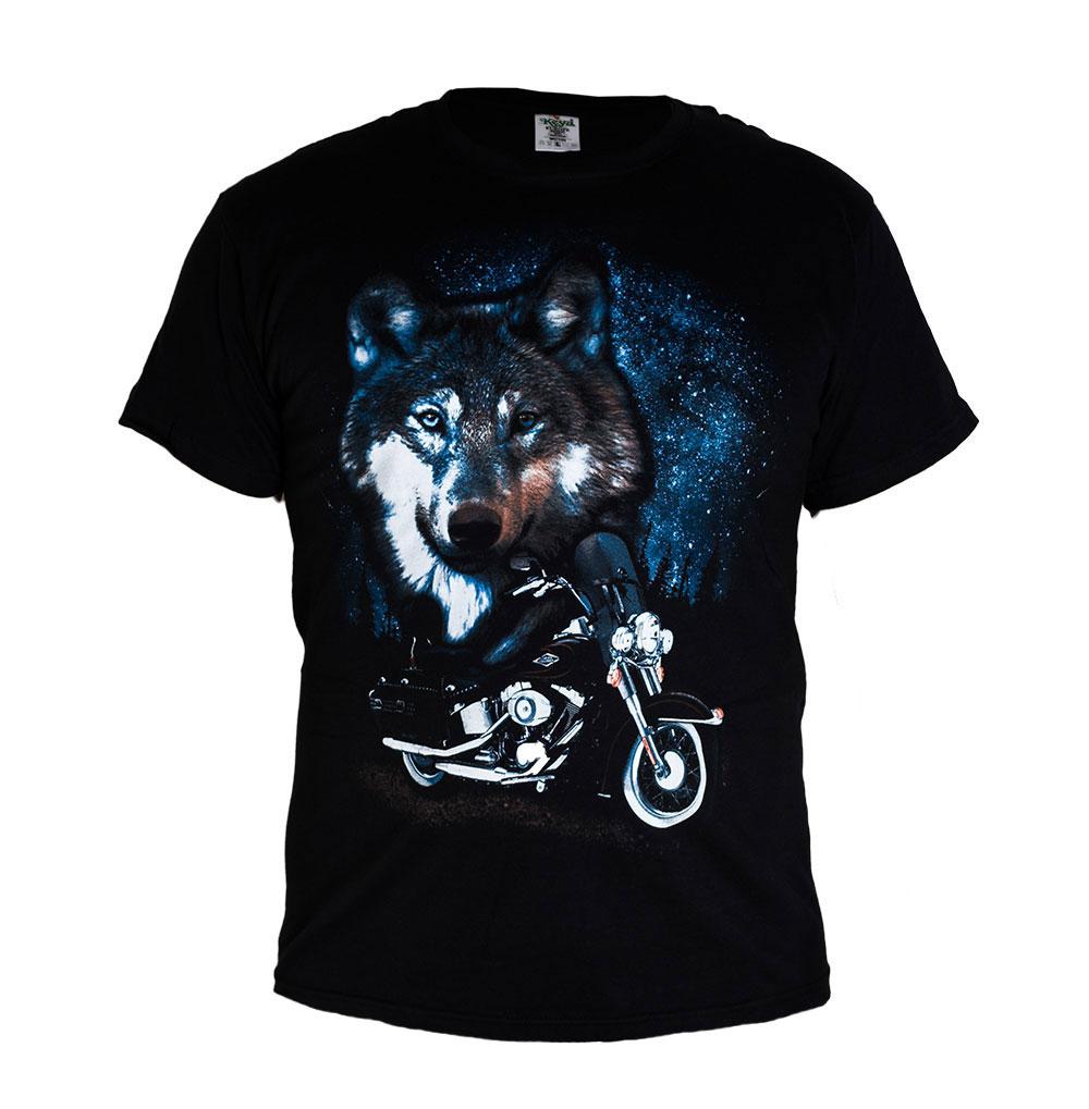 Universal Tričko Vlk a Motorka Velikost: L