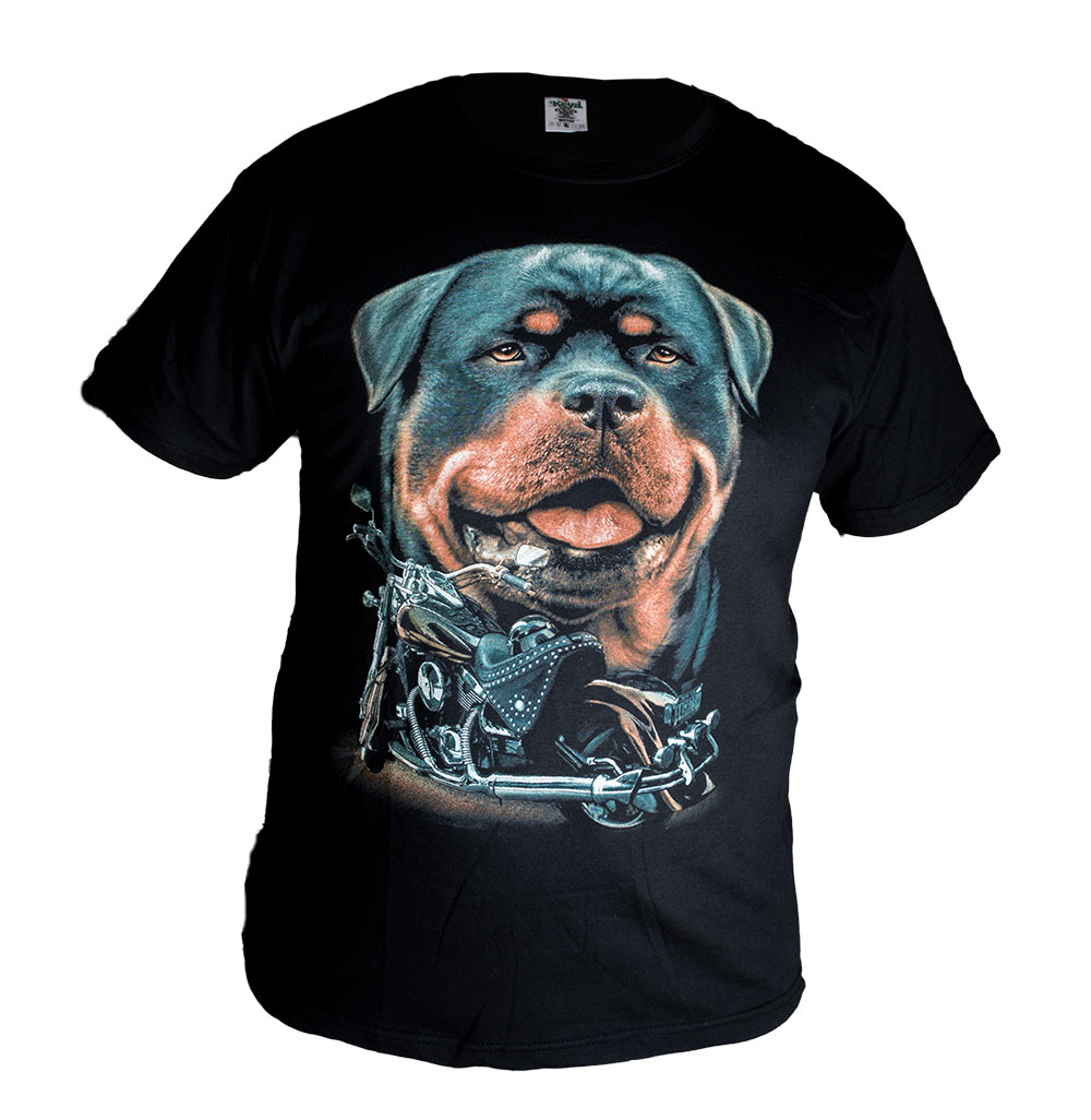 Universal Tričko s Rottweilerem a Motorkou Velikost: L