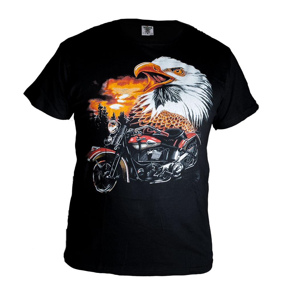 Universal Tričko s Orlem a Červenou Motorkou Velikost: L