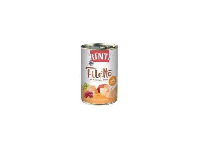 Rinti Dog Filetto konzerva kuře+kuř.srdce v želé