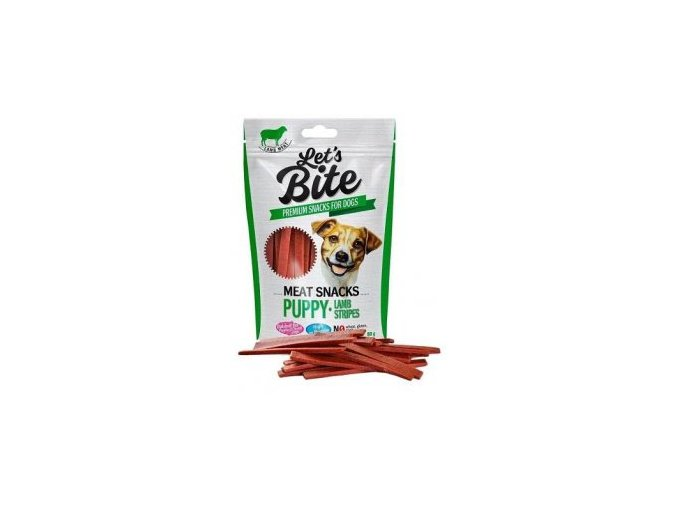 Brit Let's Bite Meat Snacks Puppy Lamb Stripes 80g