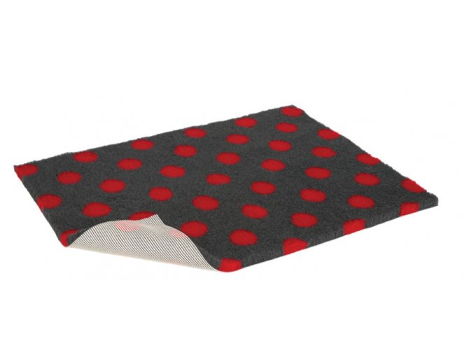 VetBed antracit červené puntíky proti