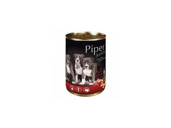 PIPER JUNIOR s hovězím srdcem a mrkví, konzerva pro štěňata 400g