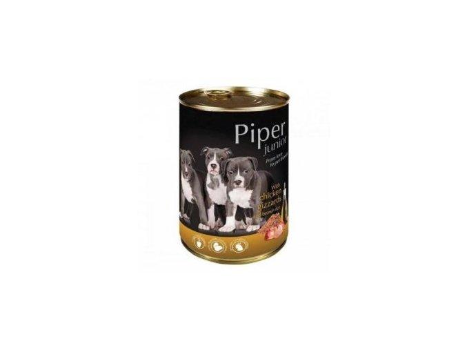 PIPER JUNIOR s kuřecími žaludky a hnědou rýží, konzerva pro štěňata 400g