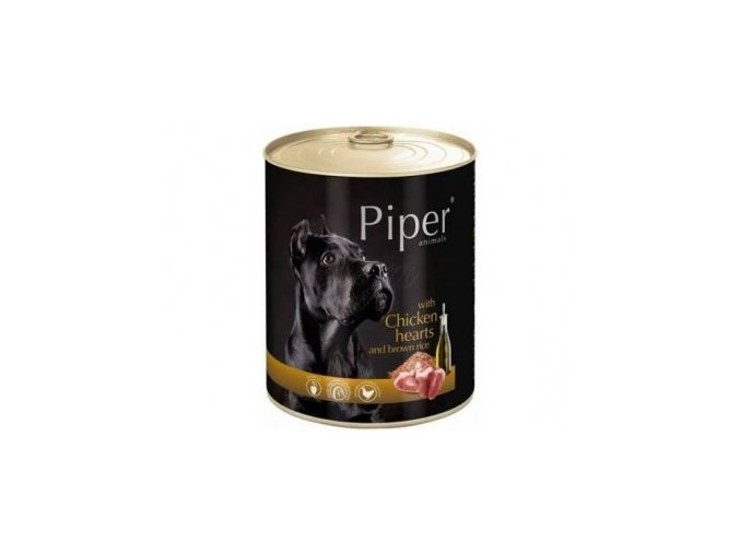PIPER s kuřecími srdíčky a hnědou rýží, konzerva pro psy