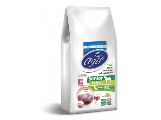 agil senior light low grain tuna lamb chicken 10kg