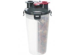 Cestovní zásobník na vodu a krmivo, včetně misky, 2 × 0.35 l/ø11 × 23 cm