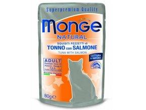 MONGE NATURAL kapsička tuňák v želé s lososem pro kočky 80 g