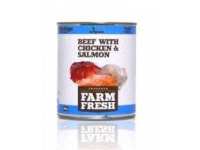Farm Fresh Dog Beef with Chicken&Salmon konzerva 800g
